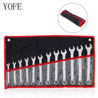 12pcs 8mm-19mm Combination Spanner Set Chrome Vanadium Steel Professional Ratchet Wrench Set Hand Repair Tools Kit