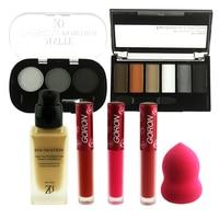 ZD 7Pcs Face Makeup Set Eyeshadow Palette Matte Lip Gloss Liquid Foundation Eyebrow Powder Mascara Eyeliner