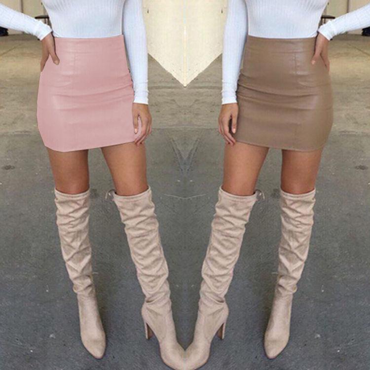 Women Ladies Sexy Bandge Leather High Waist Pencil Bodycon Hip Short Mini Skirts