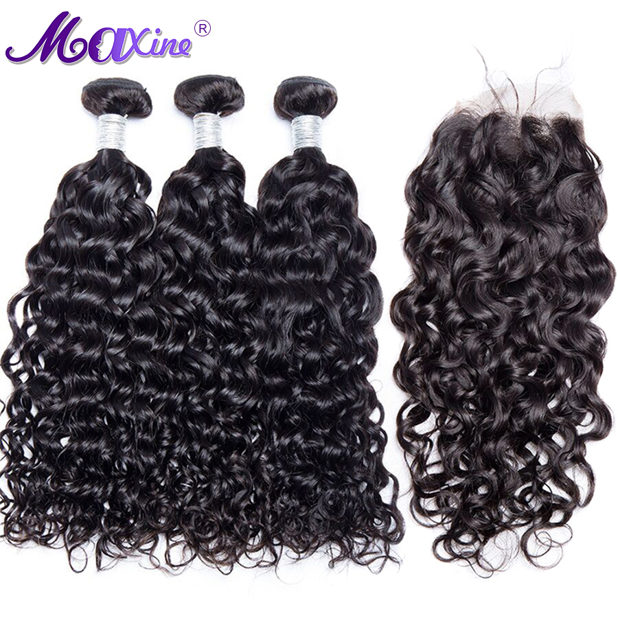Water Wave Bundles With Closure Free Part Human Hair Bundles With Closure 4 Pcs Brazilian Hair