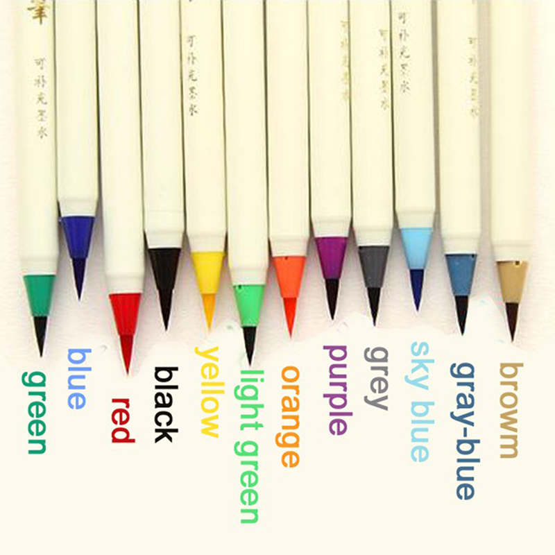 1dad1e888 12 color box kawaii platinum writing brush calligraphy pen color soft brush  12pcs pens korean stationery free shipping