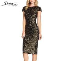Women Hot Summer Dress O Neck Paillette Sequins Short Sleeve Bodycon Slim Pencil Party Dresses Night