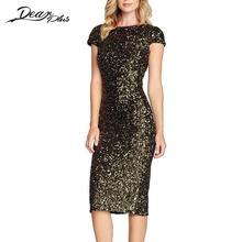 Для женщин жаркое лето платье О-образным вырезом блестка Блёстки короткий рукав Bodycon тонкий карандаш Платья для вечеринок ночной клуб элегантный Vestidos Mujer