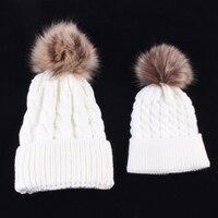 2Pcs Mother Kids Child Baby Warm Winter Knit Beanie Fur Pom Hat Crochet Ski Cap Cute