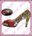 Aidocrystal красные цветы и зеленые листья кристалл вокруг котенок каблуки обуви и мешок вечера для дамы
