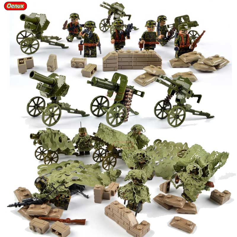 Oenux New Arrival WW2 Camouflage Soldiers Figures With Camouflage Clothing Military Building Block DIY Brick Toys For Boys Gift цена