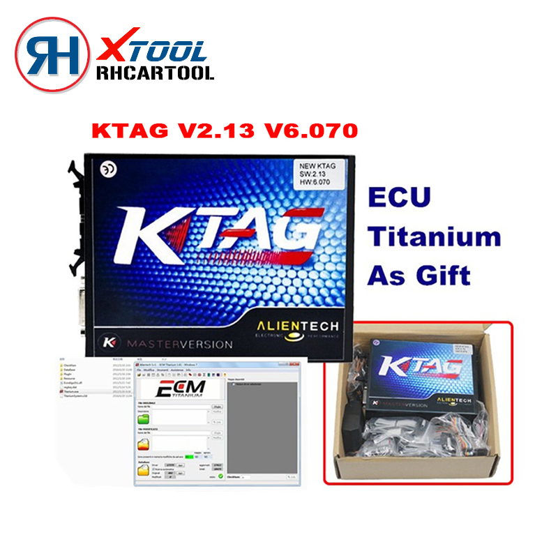 Prix pour Hot Nominal K TAG ECU Programmeur KTAG V2.13 Matériel V6.070 Pas jetons Limitation K TAG 2.13 Maître Version ECU Chip Tuning Outil
