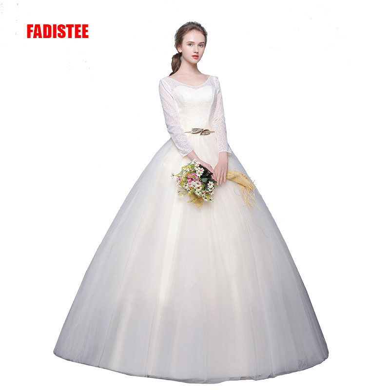 New Arrival Elegant Wedding Dress Vestido De Festa Dress Tulle Three Quarter Sleeves Lace Ball Gown Long Style