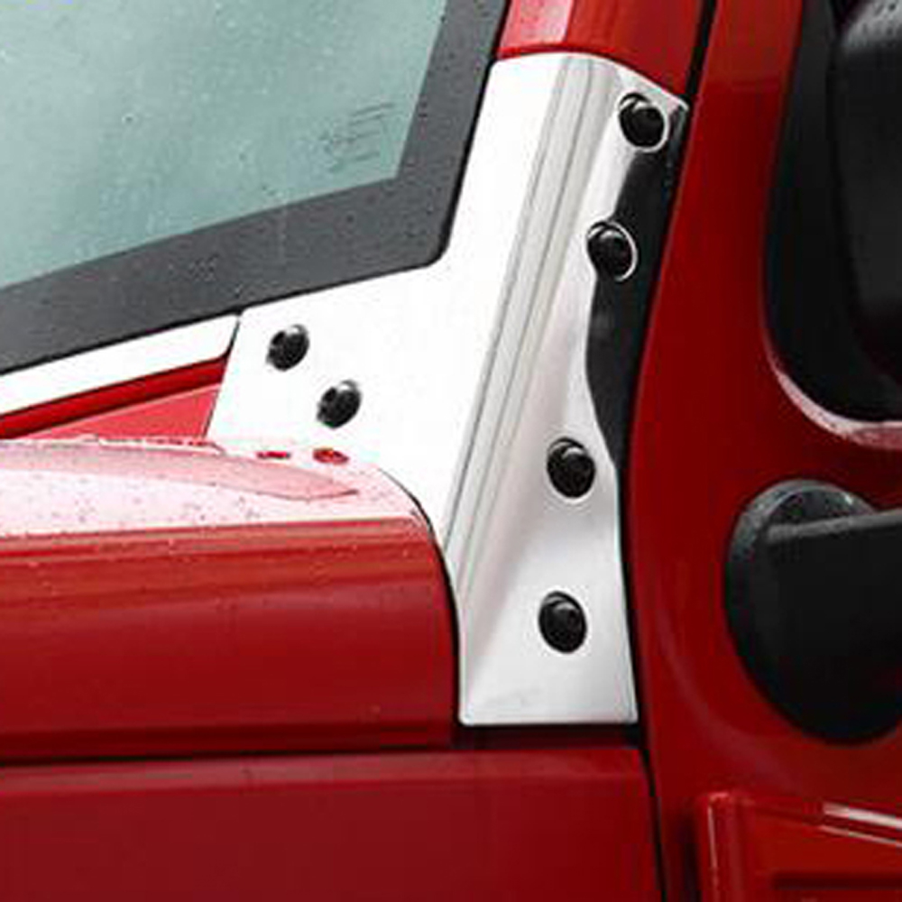 Exterior Parts Chrome Styling Accessories For Jeep Wrangler Front Engine Hood A Pillar Windshield Strengthened Decorative Cover