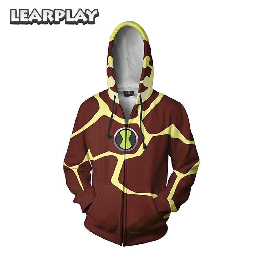 Anime Ben 10 Hoodies Alien Force Cosplay Costume 3D Printed Zipper Sweatshirt Men Women Adult Hooded Jackets Outfit Streetwear