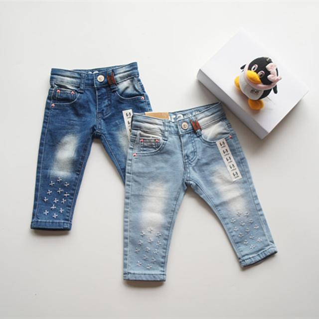Chegam novas marca Z bebê grils calça jeans moda jeans crianças calças de comprimento total calças de brim infantis para 3-36 m da menina Freeshipping