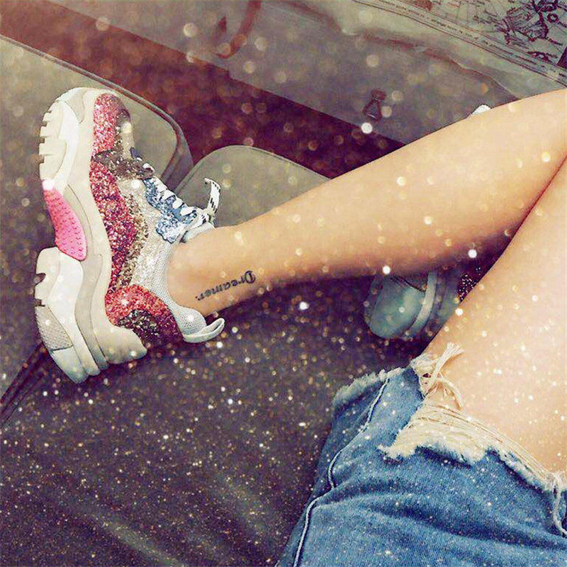 Luxury Designer Lace Up Ultra Shoes Women Glitter Bling Pink Mixed Colors Sneakers 2018 Street Styles Fashion Platforms Shoes real fur winter shoes women mixed colors thick platforms shoes 2018 lace up ultra women sneakers mesh leather casual women shoes