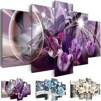 5 Panels 5D DIY Full Square Diamond Painting Abstract Flowers Multi picture Combination 3D Embroidery Mosaic kit Home Decor