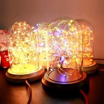 Mesa De Centro De Vidrio De Madera   Lámpara De Noche Retro De La Lámpara De Cristal LED Cálida Barra De Madera Café Personalidad Tienda Lámpara De Decoración