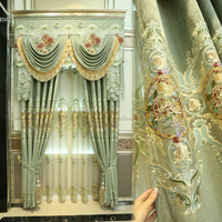 Custom curtains Luxury European style curtain high grade living room curtain Green hollow embroidery cloth curtain valance E884