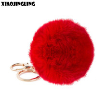 XIAOJINGLING Imitation Fur Pompom Keychain Rabbit Hair Pom Pom Ball Key Chain Pendants For Women Lovely Fluffy Keyring Jewelry(China)