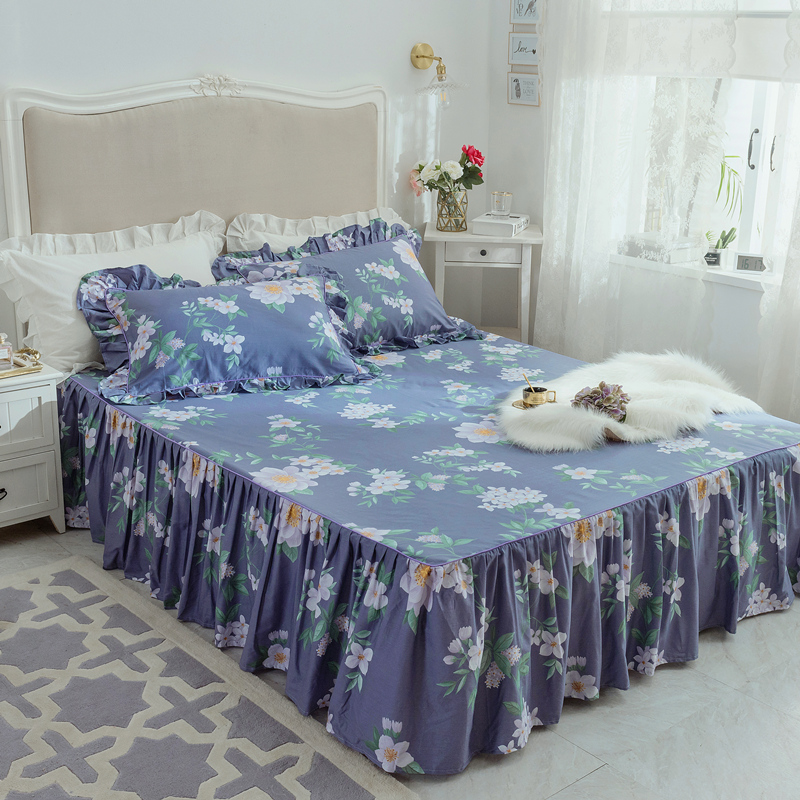 Cotton Lace Ruffles Bedding Bed Skirt Pillowcases Romantic Bedspread 3pc Girls Bedclothes Bed Sheet Mattress Cover Queen King