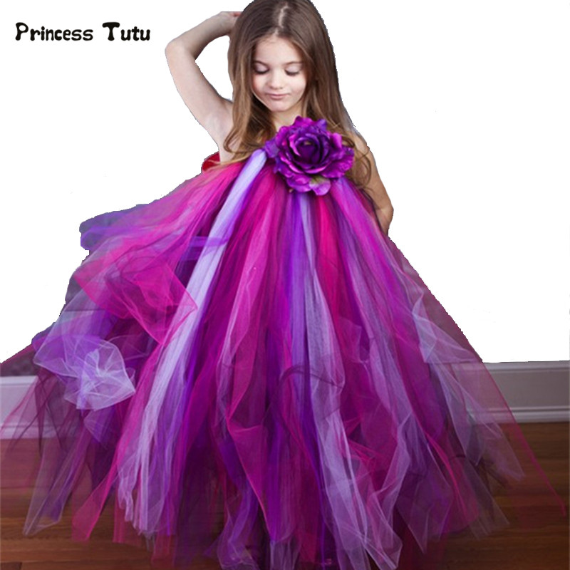 цена на Peacock Tulle Girl Party Dress Purple Princess Tutu Dress Kids Pageant Gown Wedding Flower Girl Dresses Children Costume Vestido