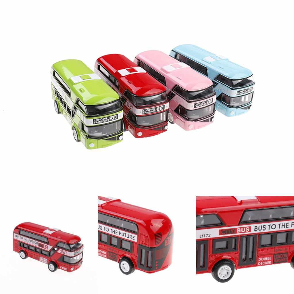 5 Colors Plastic Simulation Double Decker London Bus Toy Kids Toy Car Model Alloy Diecast Toys for Boys Gift Decoration