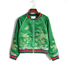 Women basic coats 2016 autumn new fashion cropped green satin embroidered bomber jacket