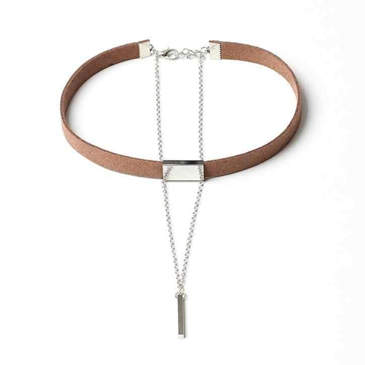 XIYANIKE Neue Schwarz Samt Halsband Halskette Gold Kette Bar Colliers Halskette Für Frauen collares mujer collier ras du cou N664