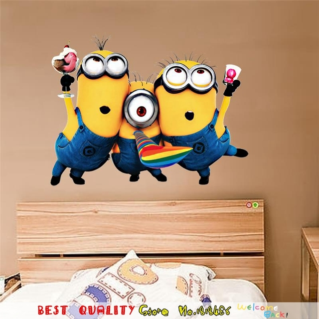 cute minions man wall stickers kids room decoration home house decor
