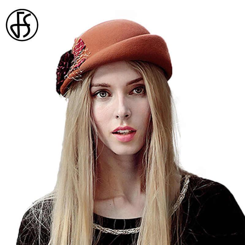 FS Винтаж французский шерстяной женский берет зимняя фетровая шапочка с цветком шляпы с плоским верхом леди шапочка стюардессы Fedoras Chapeau Femme Feutre