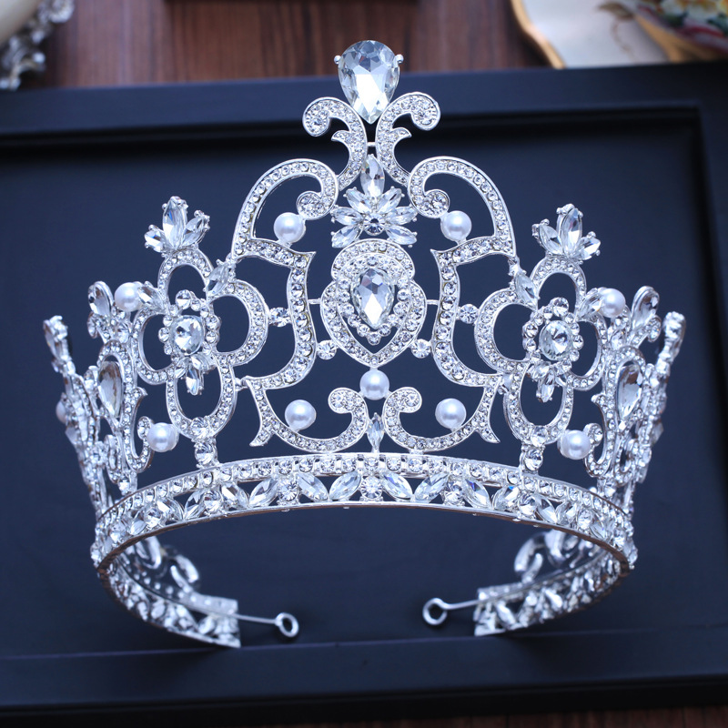 Height 14cm Sparkling Crystal Bridal Crown Hair Accessories For Women Wedding Tiaras Big Diadem Crown Pearl Hairband Jewelry