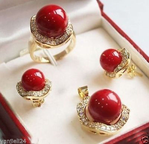 Hot sale new Style >>>>>Set 10mm &14mm red South sea Shell Pearl Earrings Necklace Ring