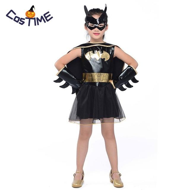 Kids Batgirl Tutu Costume Little Girls Batman Superhero Fancy Dress