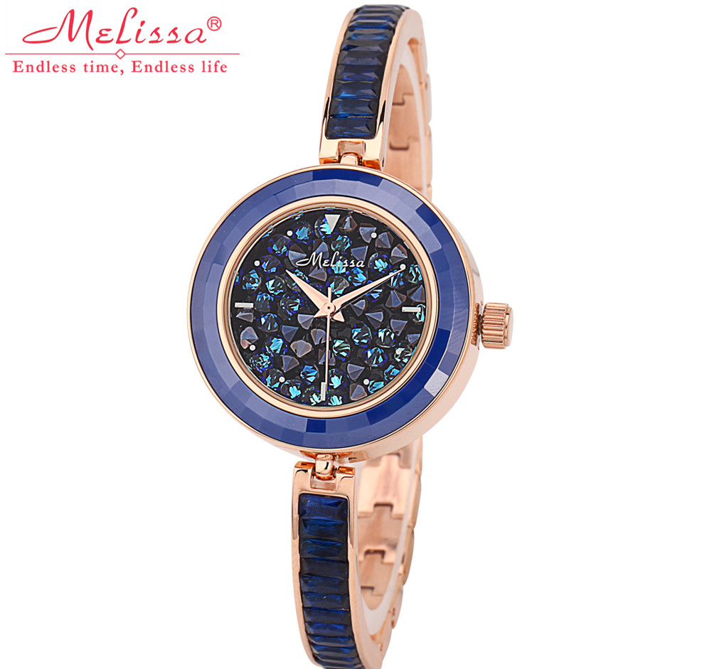 Fashion MELISSA Bling Crystals Watch Vogue Girls Ultra-Thin Bracelet Watches Quartz Wrist watch Elegant Montre Femme Reloj F8065 otoky 2017 women watches fashion thin belt rhinestone strap quartz wrist watch woman reloj montre femme apr26