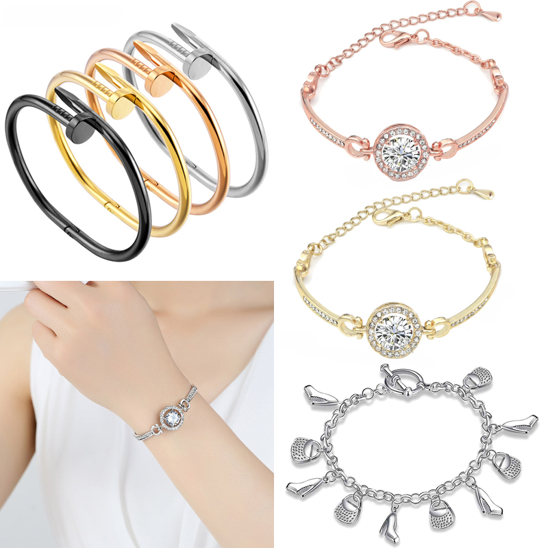 New-Hot-Silver-Solid-Color-Bracelets-For-Women-Fashion-Women-Jewelry-Wholesale-Heart-Hollow-Out-Bracelet