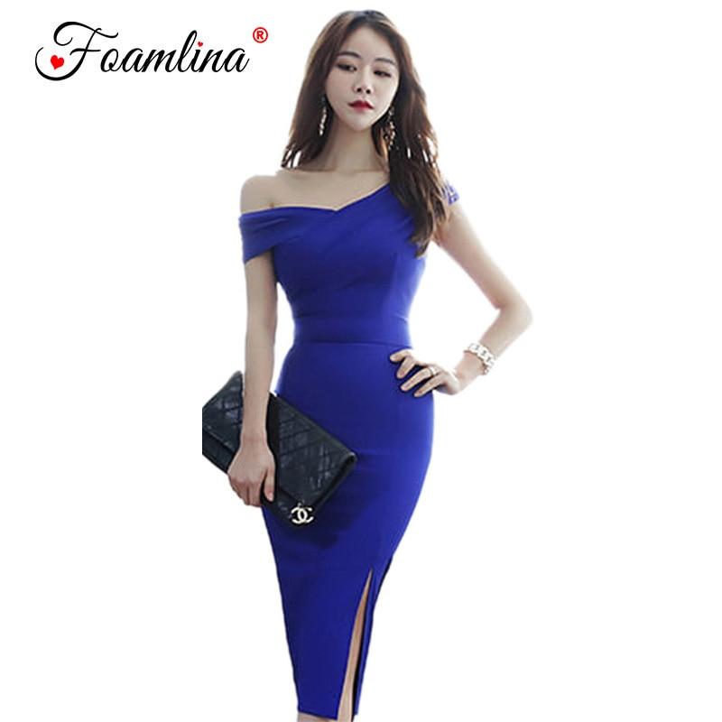 Foamlina Blue Bodycon Bandage Dress One Shoulder Form Fitting Dress Sexy V Neck Sleeveless Knee Length Evening Party Dress
