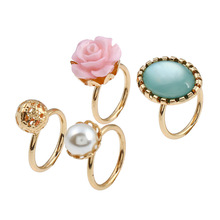 Popular Model Hot Sale Delicate Flower Stone Rings Fashion, Simple Alloy Inlaid Pearl Ring For Women Girls Female,