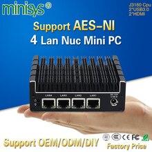 Minisys 4 гигабит Intel Lan J3160 процессор карманный мини компьютер поддержка Pfsense openvpn-AES-NI Barebone безвентиляторный NUC PC с 2* HDMI