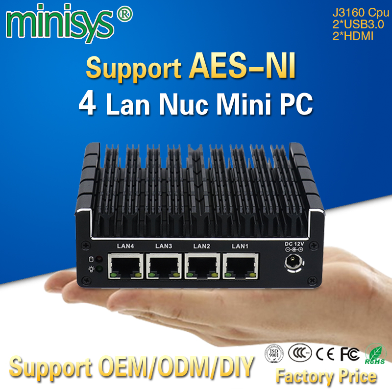 Minisys 4 Gigabit Intel Lan J3160 CPU Pocket Mini Computer Support Pfsense OpenVPN AES NI Barebone Fanless NUC PC with 2*HDMI