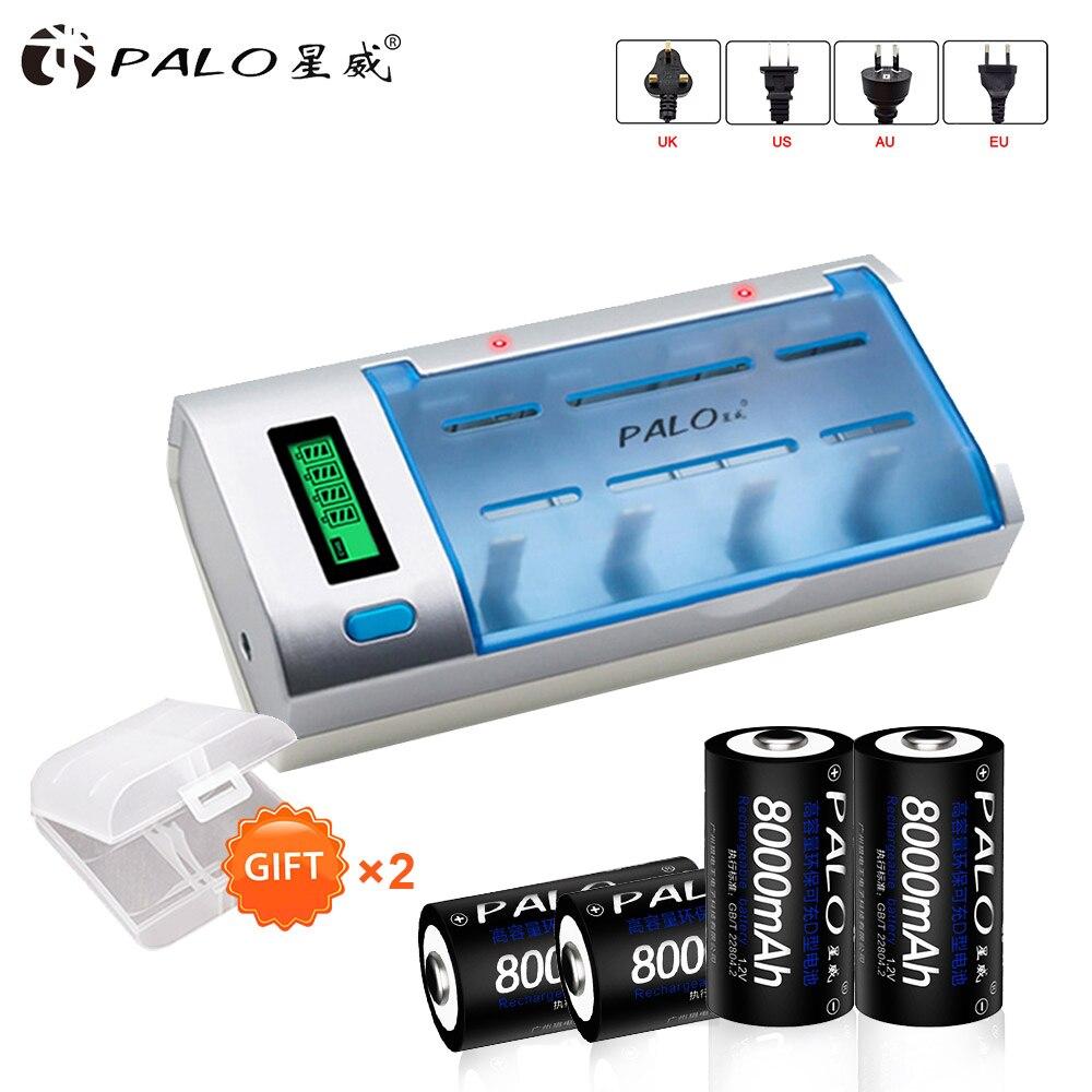 Chargeur de batterie à affichage LCD pour batterie AA/AAA/SC/C/D/9 V + batterie rechargeable nimh 8000 mah D 4 pièces