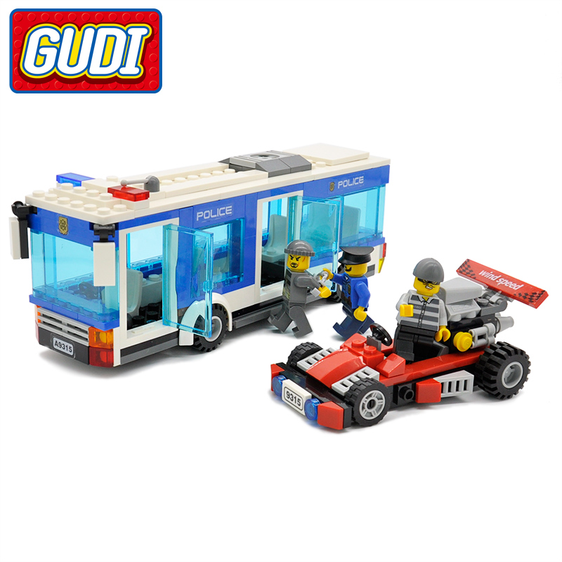 GUDI City Police Station 256pc Bricks Policeman Building Blocks Educational Birthday Gift Toys For Children Compatible Legoingly 1397pcs large building blocks sets city police station anti terrorism action compatible legoingly city police toys for children