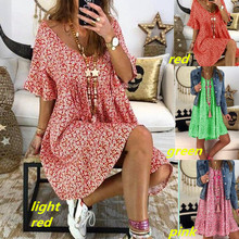 Women Fashion Sexy Deep V Neck Floral Print Shirt Dress Ladies Loose Fit Knee Length Dress Plus Size