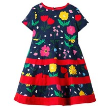 Girls Dresses Spring Summer Flower Dress Floral A-Line Dress Girl Short Knee-Length Dresses Regular O-Neck