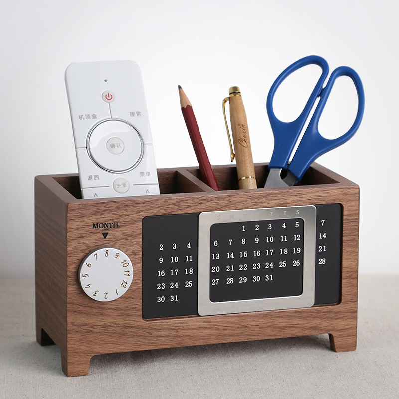 Multi-functional Walnut Wood Pen Pencil Box Holder Desktop Office Accessories Stationery Organizer With Perpetual Calendar