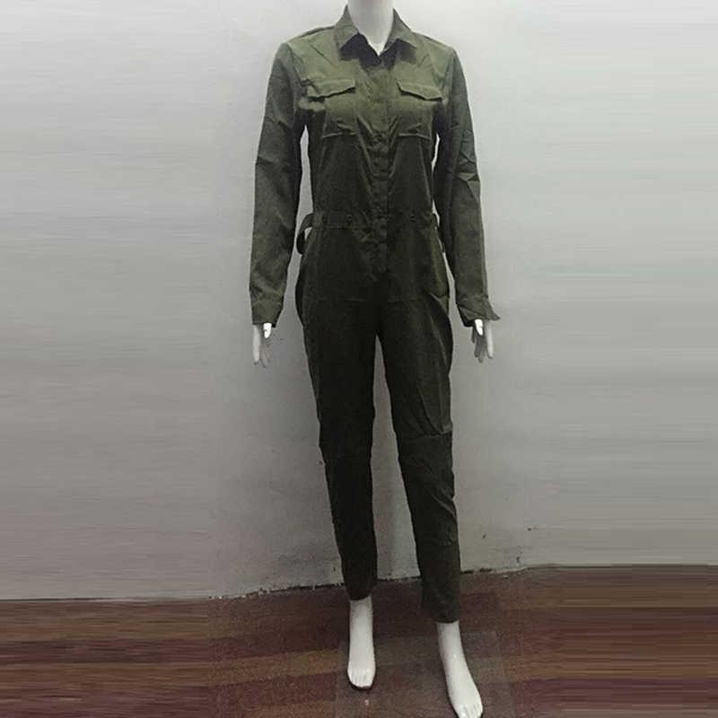 Сексуальное женское Новое модное облегающее боди с длинным рукавом армейский зеленый однотонный Повседневный обтягивающий костюм женский винтажный комбинезон длинный