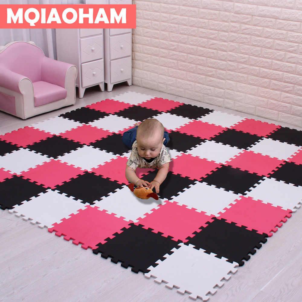 MQIAOHAM الطفل إيفا رغوة تلعب سجادة ألغاز 18 قطعة/الوحدة الأسود والأبيض المتشابكة ممارسة البلاط سجادة أرضيات وبساط للأطفال وسادة