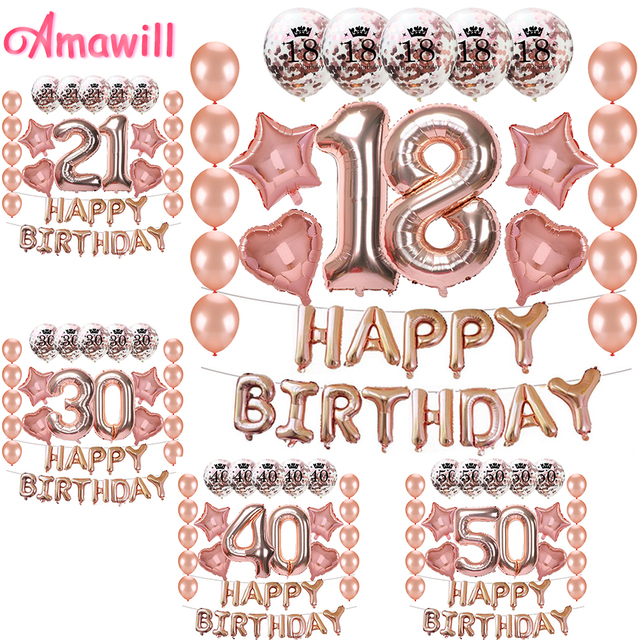 amawill happy birthday letter numer 18 foil balloon rose gold confetti balloons for 18th birthday party