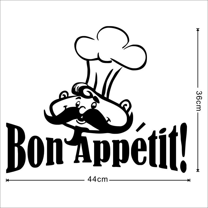 Bon Appetit Funny Chef Cooker French Spanish Quotes Food Wall Stickers For Living  Room Dining Room Restaurants Kitchen Chief In Wall Stickers From Home ...
