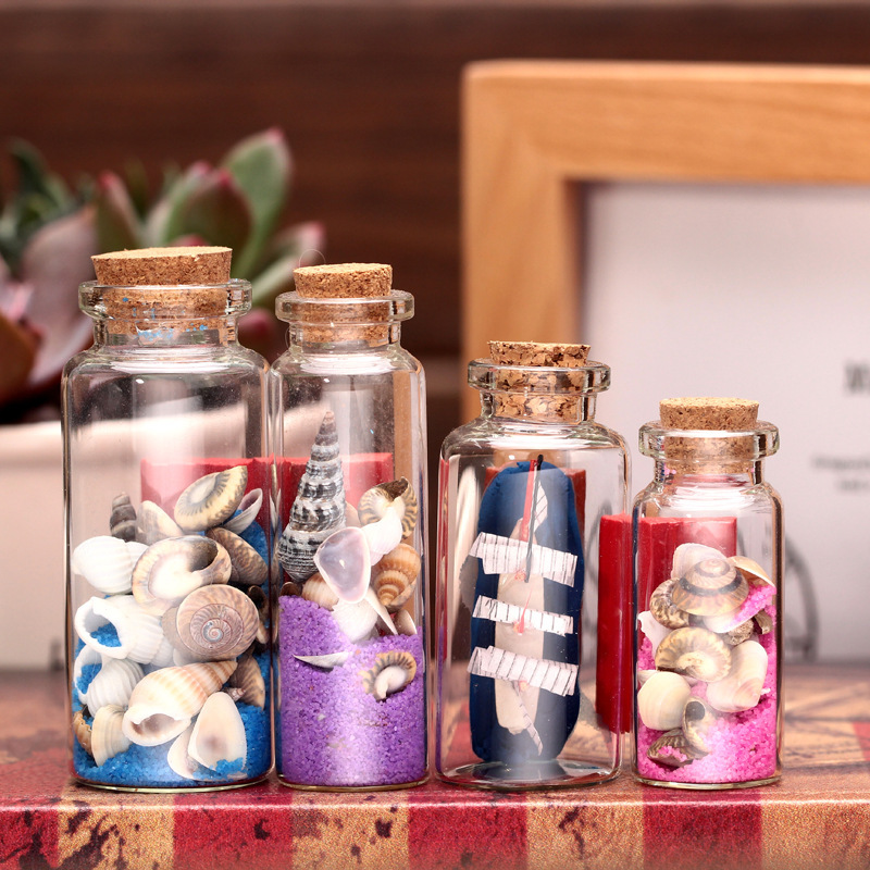 Extremely exquisite wishing bottle with sand and shells for Glass bottle gift ideas