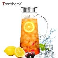 Transhome Large Capacity Glass Cold Kettle 1500ml Hot Cold Water Bottle Household Transparent Juicer Fruit Infuser Glass Kettles