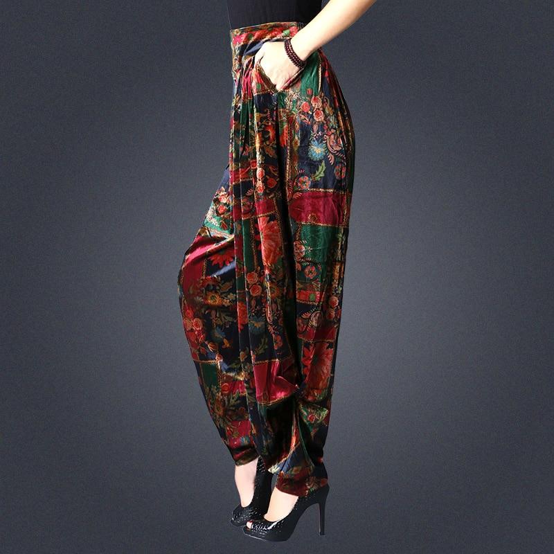 Women's Spring autumn large size   pants   loose carrot   pants   Elastic Waist   wide     leg     pants   velvet harem   pants   female print trousers