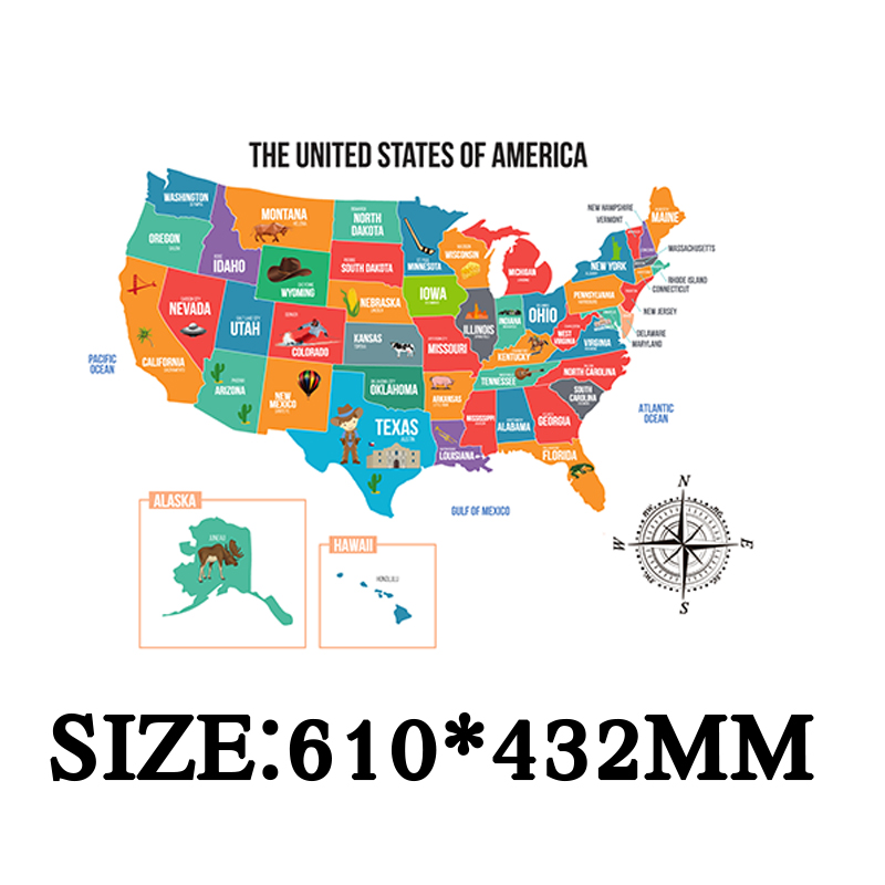 Scratch off places you travel map - America (US) - Detailed cartography - US States - National Parks - 610x432mm