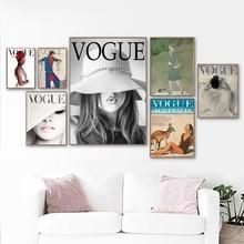 Retro Vogue pared arte lienzo pintura impresiones Vintage carteles moda revista cubierta ilustración niñas regalo decoración del hogar